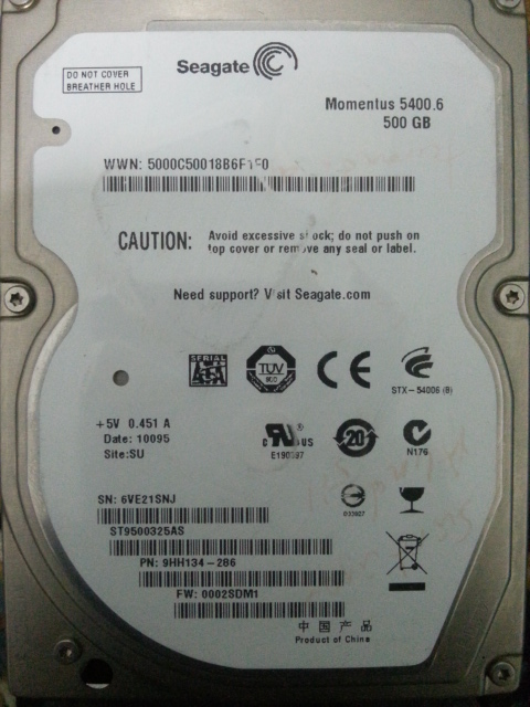 Seagate ST9500325AS P//N 9HH134-286 F//W 0002SDM1 500GB SU
