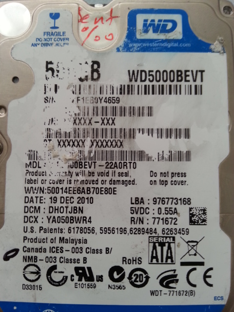 WD5000BEVT 22A0RT0